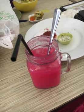 Soda Gembira-Happy Soda (coco pandan syrup, soda water, and sweet condensed milk) Kinda tastes like Cream Soda!