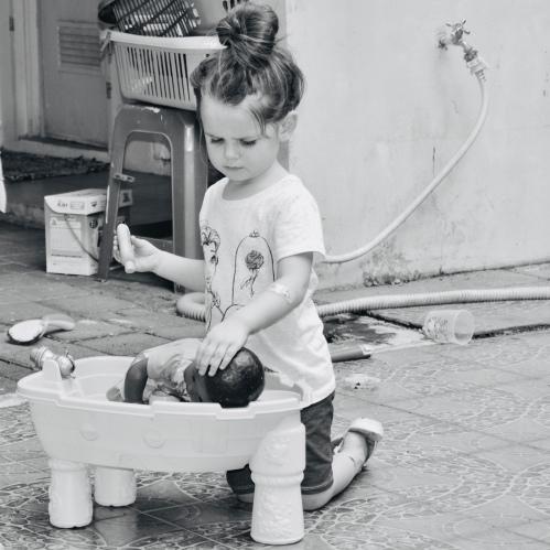 Giving ZuZu a bath